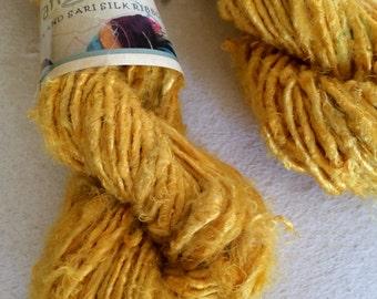 Banana yarn, cornflower yellow. 200g, Art yarn. Knitting yarn. Beautiful soft vegan friendly yarn. Ethical handspun yarns.
