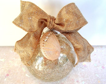 Silver Christmas Ball Ornament, Beach Christmas, Seashell Ornament--Gift For Her, Mercury Crackle Ball with Swarovski Crystal Sea Shell