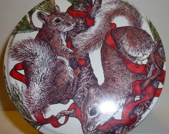 Vintage Frisky Squirrels Tin (empty), 1983