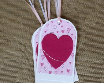 10% Discount/Gift Tags, Set of 5, Holiday Tags, Hearts, Pinks, Maroon, Hang Tags, Valentine's Day