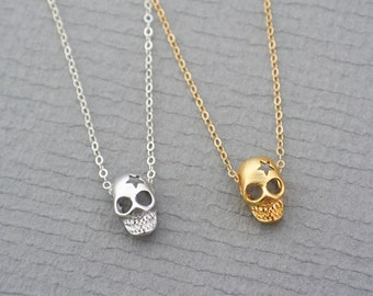 Skull Necklace / Layering Necklace / Silver or Gold Skull Jewelry / Everyday Necklace / Day of the Dead Jewelry / Skeleton Necklace