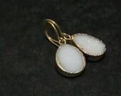 Druzy Agate Earrings | Teardrop Earrings | Pendant Earrings | Bridal Jewelry | Gold Earrings