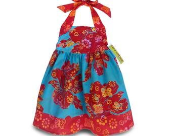 Red Halter Dress, 8yr Girls Dress, Red Floral Dress, Girls Batik Dress, Floral Halter Dress Girls