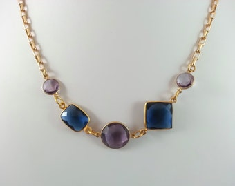 Gemstone choker//Blue and Purple Necklace //Choker Necklace// valentine