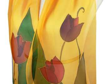 Silk Scarf Amber Orange Long Tulip Time Mother Day. Inspired By Holland Tulip Time Festival. Warm Orange Tulips Scarf. Gift Giving Ready
