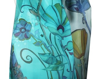 Silk Scarf Aquamarine and Heather Gray Hand Painted. Long Scarf 15 x 65 inch. Gift Wrapping. Floral Design. Wearable Art. Batik.