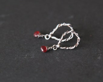 Stud silver 925 earrings with small red quartz