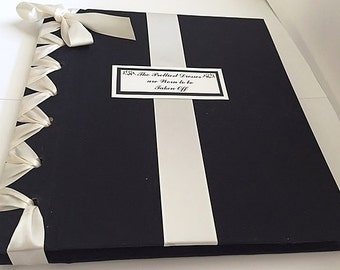 Black & Ivory Photo Album, Anniversary Photo Album, Boudoir Album, Personalized Wedding Photo Album - Custom Colors Available