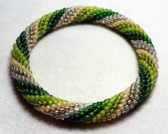Green Spiral Seed Bead Crochet Bangle - Ready to Ship