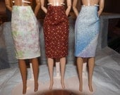 Fashion Doll Coordiates - 3 skirts in pink & green floral, rust floral, purple and blue abstract print - es322