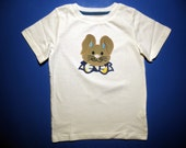 Baby one piece or toddler t-shirt - Embroidery and appliqued boys Easter bunny with Bow Tie