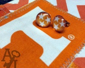 Orange Tri-Star Tennessee State Flag post earrings