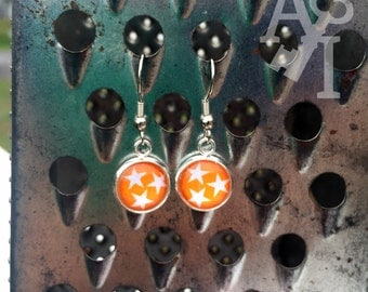 Tennessee Vols Orange Tri-Star Tennessee State Flag dangle fish hook style earrings