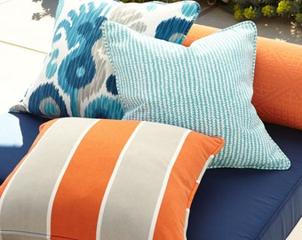 Indoor outdoor Pillow cover, cushion cover, cabana stripe coordinate in scribble blue