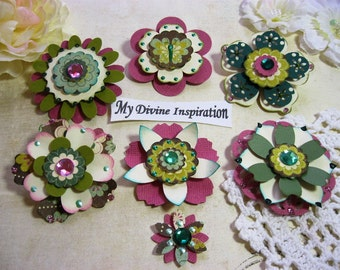 MME Quite Contrary Little Miss Muffet Paper Embellishments and Paper Flowers for Scrapbook Layouts Cards Tags Mini Albums and Paper Crafts
