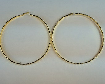 Gold 4 1/2 inch Pyramid Cut Hoop Earrings  Buy 2 Get 1 Free Mix or Match