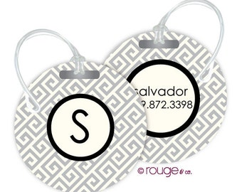 GREEK luggage tags with custom monogram - set of 2
