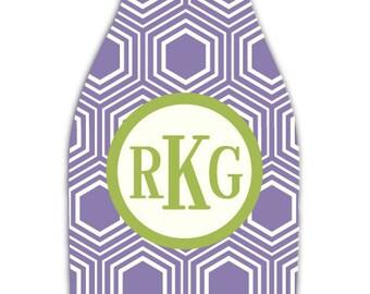 HONEYCOMB personalized monogram bottle beverage insulator - zippered back for longnecks - weddings, bachelorette, parties, beaches