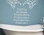 Bathroom Rules decal wall art - Vinyl Lettering  decal wall words graphics  decals  Art Home decor itswritteninvinyl