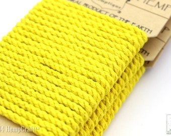 Yellow Colored Hemp Rope, 4mm Thick Twisted Eco Friendly Rope Cord