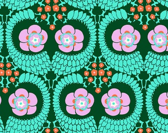 Emerald Green Floral Fabric Violette French Twist in Jade by Amy Butler, 1 yard - SALE