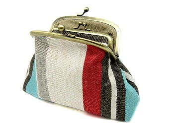 Striped Linen Kiss Lock Coin Purse Wallet Clutch Gift for Women Beige Blue Red Yellow Cream Taupe Gold Metal Frame