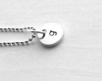 Tiny Initial Necklace, Letter g Pendant, Personalized Necklace, Hand Stamped Small Initial Pendant, Sterling Silver Jewelry, All Initials, g