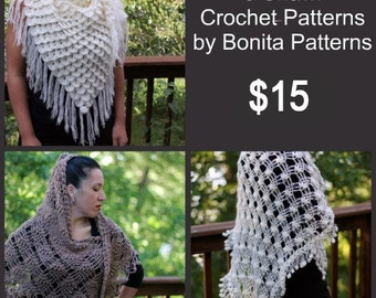 CROCHET PATTERN: 3 (three) Shawl Crochet Patterns by Bonita Patterns - Permission to Sell Finished Product