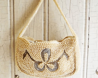 Vintage Pearl Purse with Bugle Bead Design -  Wedding or Evening - Special Occasion Purse - Bag by Debbie Made in Japan - Mid-Century 1960s
