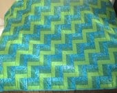 Blue Green Rail Fence Lap Quilt