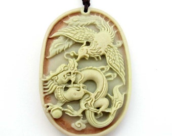 Carved Dragon Phoenix Sweethearts Two Layer Natural Stone Talisman Pendant 49mm*34mm  ZP052