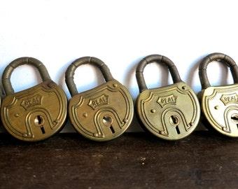 Vintage Brass Lock Set