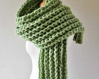 Crochet Super Scarf - Chunky Crochet Scarf - Extra Long Scarf - Women's Green Scarf