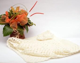 Baby angora cream handmade crochet and knitted blanket 120-140 cm ready to ship