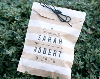Custom Printed - Personalized - Wedding Favor Bag - Treat Bags - Candy Bags - 25 bags