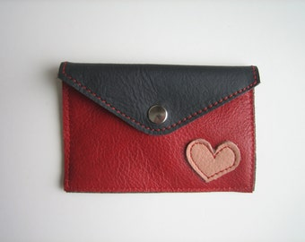 Gray& Red Leather Heart Snap Pouch