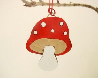 Christmas Ornament - mushroom, kids holiday decor, kids wooden holiday ornament, Christmas gift for boys and girls, children decor