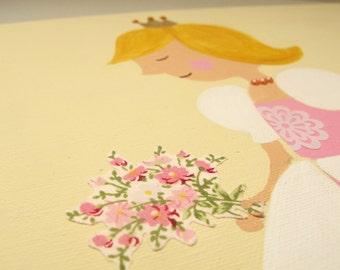 Princess canvas painting for girls room, princess wall art, girls wall art, children decor,children art, kids wall art