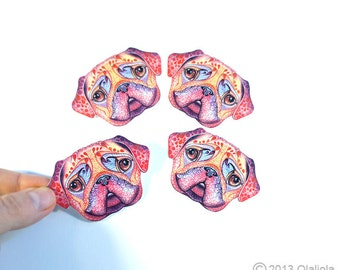 Pug face 4 small stickers, dog sticker, // SALE 3 for 2 // 100% waterproof vinyl label.