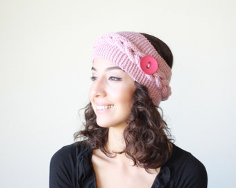 Dusty rose Women knit headband, Knit warm headband for women, Winter ear warmer, Knit pink headbands, Winter headband, Women Knit earmuffs