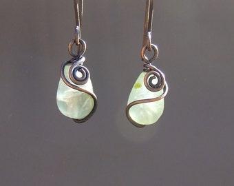 Green prehnite earrings, green natural stone rustic copper jewelry