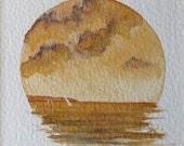 watercolour vignette sunset across the bay original painting