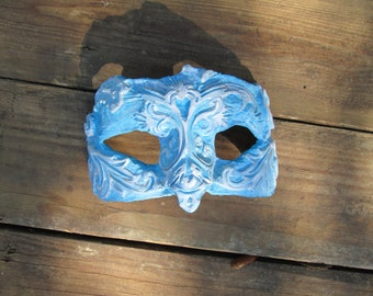 Frozen, Ice, Snow, Halloween Costume, hand painted, one of a kind, carved, blue and white, ice queen mask, ice king mask