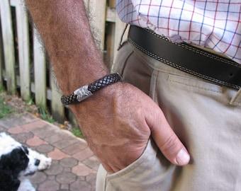 Zodiac Bracelet - GEMINI - Silver and  Braided PU Leather Cord Bracelet