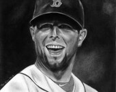 Portrait Drawing of Dustin Pedroia (matted print)