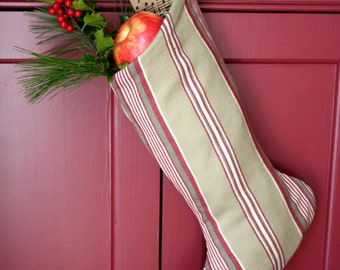 Classic Striped Christmas Stocking - Ticking Stripe -  Khaki - Red Stripe - Traditional