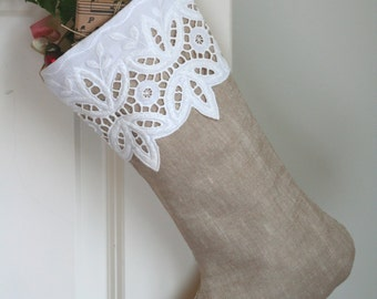 Battenburg Lace and Linen Christmas Stocking - Natural Linen - Romantic - Cottage - Victorian
