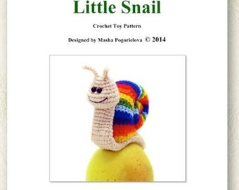 Little Snail - pdf crochet toy amigurumi pattern, Rainbow Snail
