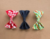 Holiday Bundle - Holiday Cotton & Denim Hair Bow Barrettes - 3 pieces