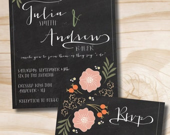 Chalkboard Floral Wedding Invitation and Response Card Invitation Suite